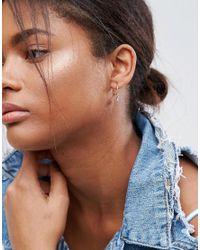 ASOS - Metallic Pack Of 3 Charm Hoop Earrings - Lyst