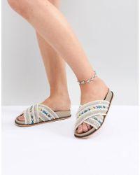ASOS - Metallic Design Engraved Triangle Anklet - Lyst