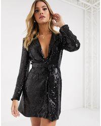 Club L London Black Sequin Tux Dress