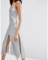 ASOS - Gray Night Embellished Metal Sequin Cami Midi Dress - Lyst
