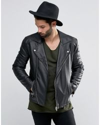 ASOS | Faux Leather Biker Jacket In Black for Men | Lyst