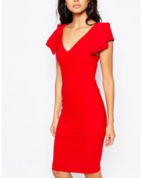 Vesper - Red Origami Detail Plunge Front Midi Dress - Lyst