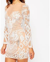ASOS | Natural Red Carpet Ergonomic Embellished Mini Bodycon Dress | Lyst