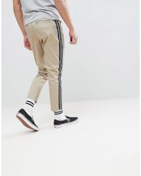 ASOS DESIGN - Multicolor Asos Tapered Cropped Heavyweight Pants With Side Stripe In Stone for Men - Lyst