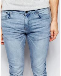 New Look Blue Super Skinny Fit Jeans In Light Wash for men