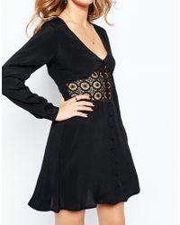 Millie Mackintosh - Black V Neck Dress With Lace Inserts - Lyst