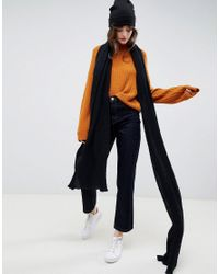 ASOS Black Oversized Long Knit Scarf In Recycled Polyester