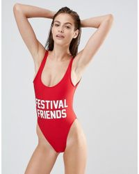 Private Party | Red Festival Friends Swimsuit | Lyst