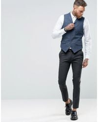 ASOS Blue Waistcoat In Houndstooth With Shawl Collar for men