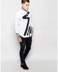 ASOS - Black White Shirt With Abstract Print In Regular Fit for Men - Lyst