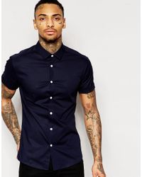 ASOS | Blue Skinny Shirt With Short Sleeves In Navy for Men | Lyst