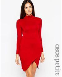 ASOS   Red Asymmetric Polo Bodycon Dress   Lyst