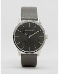 Unknown | Gray Classic Grey Leather Watch With Grey Dial 39mm | Lyst