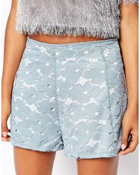 Motel - Blue Carlee Culotte Shorts In Lace - Lyst