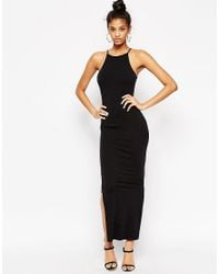 ASOS | Black Maxi Dress With 90s High Neck | Lyst