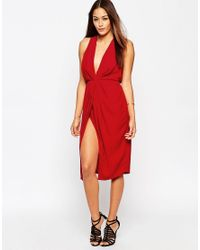 ASOS | Red Twist Front Plunge Midi Dress | Lyst