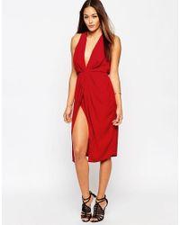 ASOS | Red Twist Front Plunge Midi Dress | Lyst