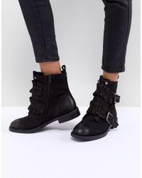 Miss Kg Black Spice Ruffle Flat Boots
