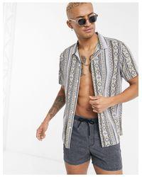 ASOS Gray Revere Collar Regular Fit Shirt for men