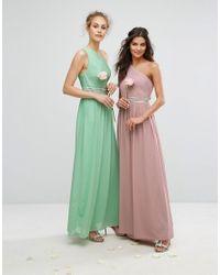 TFNC London - Green One Shoulder Embellished Maxi Bridesmaid Dress - Lyst