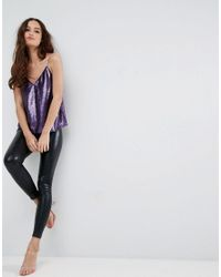 ASOS - Purple Sequin Cami With V-neck - Lyst