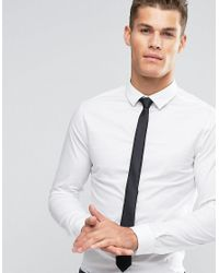 b8fcd202a ASOS Skinny Shirt In White With Black Tie Save in White for Men - Lyst