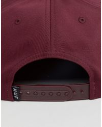 Huf - Red Snapback Cap Triple Triangle for Men - Lyst