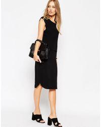 ASOS - Black Drape Back Column Shift Dress - Lyst