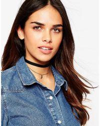 ASOS   Black Velvet And Charm Multirow Choker Necklace   Lyst