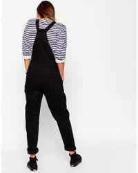ASOS | Denim Dungaree With Tie Straps In Black | Lyst