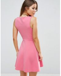 ASOS Pink Deep Plunge Scuba Skater Sweetheart Mini Dress
