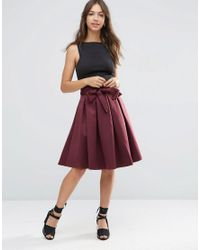ASOS | Red Prom Skirt With Self Belt In Bonded Satin | Lyst