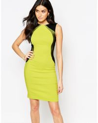 Vesper - Green Crystal Bodycon Dress With Contrast Side Panels - Lyst