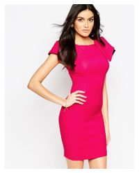 Vesper - Pink Logan Midi Dress With Exaggerated Shoulder Detail - Lyst