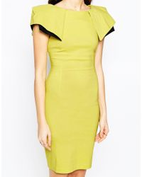 Vesper - Green Logan Midi Dress With Exaggerated Shoulder Detail - Lyst