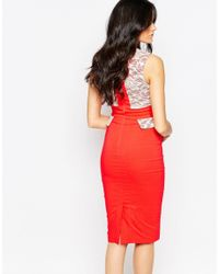 Vesper - Red Taylor Midi Dress With Lace Sweetheart Neckline And Pocket Detail - Lyst