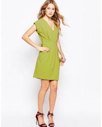 Closet - Green Closet V Neck Dress With Tie Back - Lyst