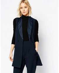 ASOS | Blue Longline Tuxedo Sleeveless Jacket | Lyst