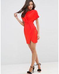 ASOS - Gray Kimono Mini Wrap Dress - Lyst