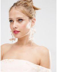 ASOS - Pink Fabric Flower Hoop Earrings - Lyst