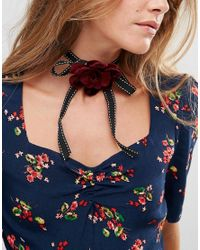 ASOS - Pink Ribbon Rose Choker Necklace - Lyst