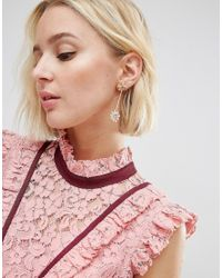 ASOS - Pink Jewel Bow Strand Earrings - Lyst