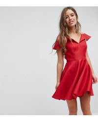 6327ba6f2cdb0 Chi Chi London Mini Skater Dress With Cold Shoulders in Red - Lyst