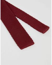 ASOS - Purple Knitted Tie In Burgundy for Men - Lyst