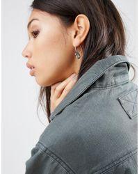 ASOS - Metallic Snake Through Earrings - Antique Silver - Lyst