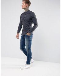 ASOS Blue Skinny Denim Check Shirt With Grandad Collar for men