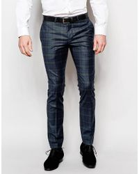 Noose And Monkey Blue Plaid Pants With Stretch In Super Skinny Fit for men