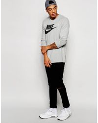 Nike - Gray Longsleeve T-shirt With Large Logo 708466-063 for Men - Lyst