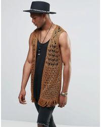Asos Crochet Sleeveless Open Cardigan in Brown for Men | Lyst