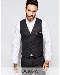 Heart & Dagger - Black Waistcoat In Birdseye Fabric In Super Skinny Fit for Men - Lyst